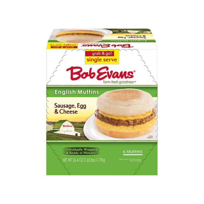 Bob Evans Single Serve Sausage, Egg & Cheese English Muffin Sandwich