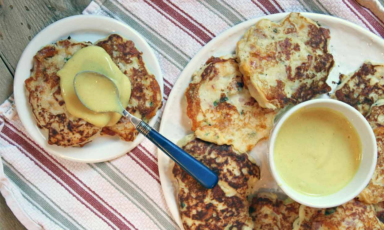Ham & Cheese Potato Pancakes with Honey Mustard Sauce