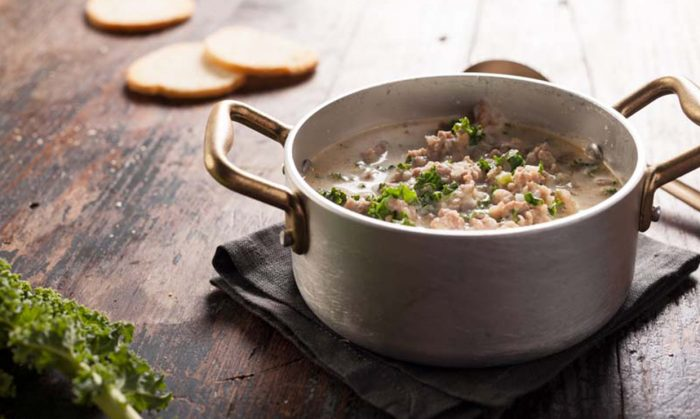 Potato and Kale Soup with Zesty Sausage