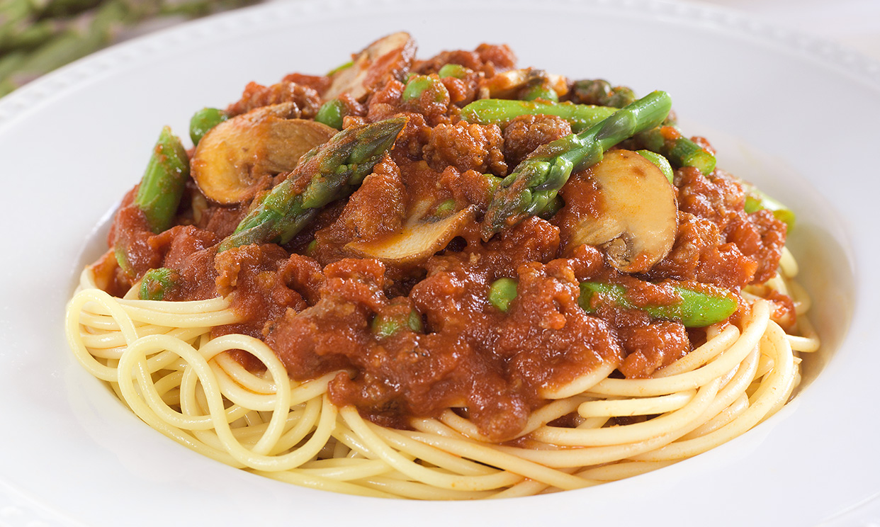 Vegetable Sausage Spaghetti