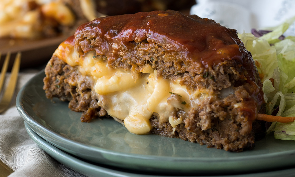 photo of Macaroni and Cheese Stuffed Meatloaf