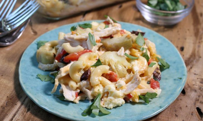Mediterranean Chicken Macaroni and Cheese
