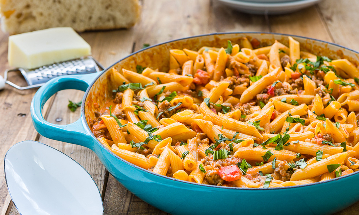 Penne with Sausage & Spicy Cream Tomato Sauce