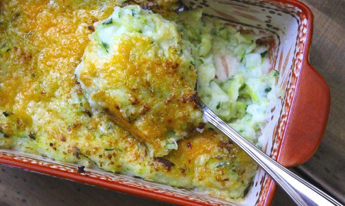 Two Cheese Garlic Zucchini Mashed Potatoes