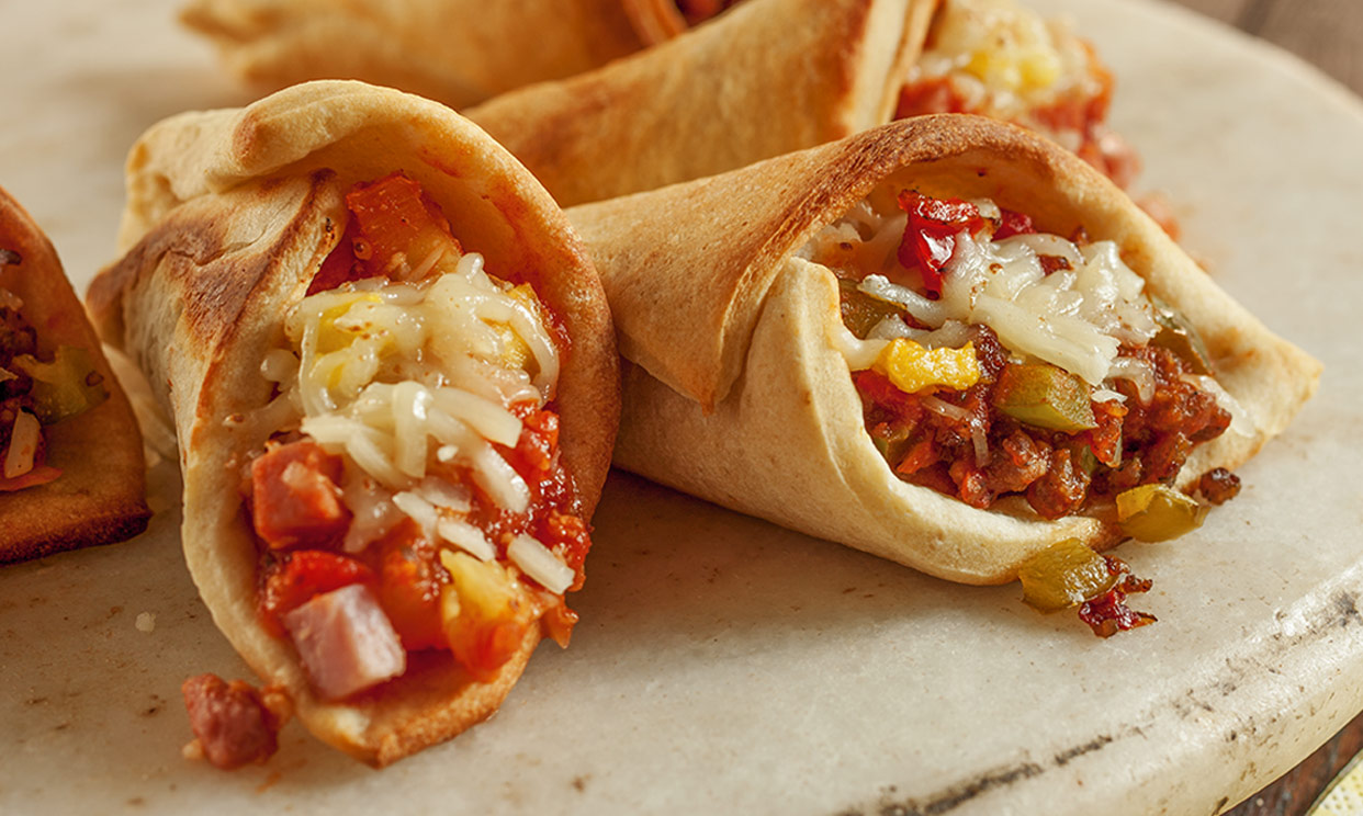 Zesty Sausage and Pepper Pizza Cones