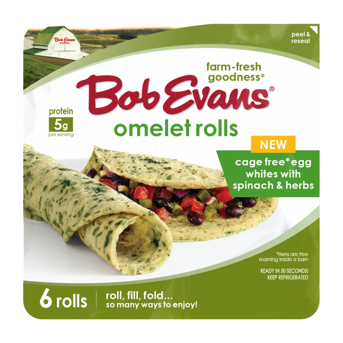 Bob Evans Egg White Omelet Roll with Spinach and Herbs